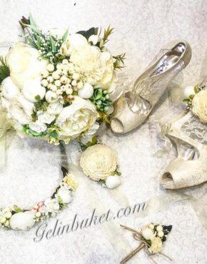 gelin çiçeği seti ve Gelin ayakkabısı