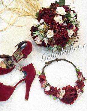 Bordo Gelin çiçeği Seti ve gelin ayakkabısı