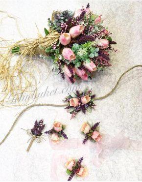 pembe lale gelin çiçeği seti