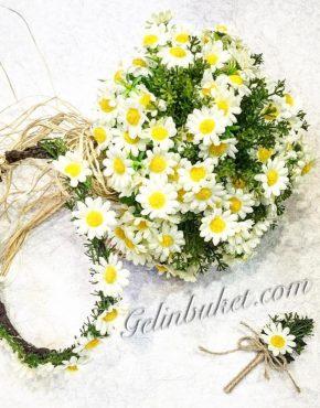 papatya-gelinbuketi-gelintaci-damatyaka çiçeği seti