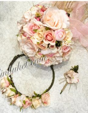 pastel-pudra-pembe gelin çiçeği gelin tacı damat yaka çiçeği seti