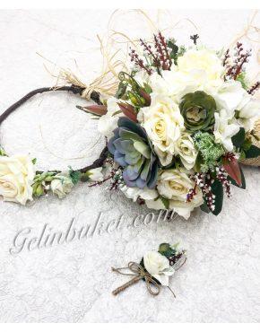 Beyaz Çiçekli Gelin Seti
