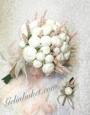 Beyaz Eren Gül Gelin buketi ve damat yaka çiçeği
