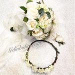 beyaz gelin buketi Gelin tacı ve Damat yaka çiçeği