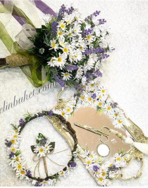 beyaz papatyalı gelin çiçeği seti ve yüzük tepsisi