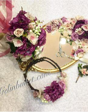 gelin çiçeği seti ve yüzük tepsisi