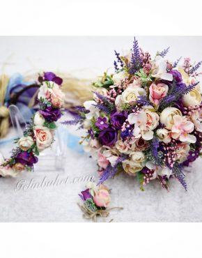 mor ve pembe çiçekli Gelin buketi seti