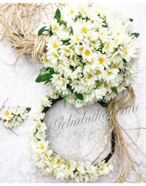 beyaz papatyalı Gelin Çiçeği Seti