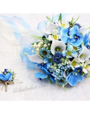 Mavi Beyaz Galalı Gelin Çiçeği
