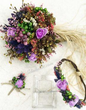 Mor güllü Gelin Çiçeği seti