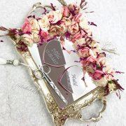 Pembe çiçekli kalpli isimli gold söz nişan tepsisi
