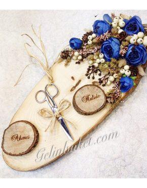 mavi çiçekli ahşap yüzük tepsisi