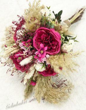 fuşya güllü başaklı büyük boy gelin çiçeği