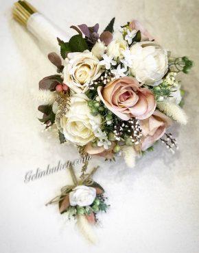 özel tasarım gelin buketi ve damat yaka çiçeği