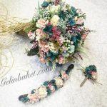 renkli aranjman gelin çiçeği -tac-yaka-cicegi