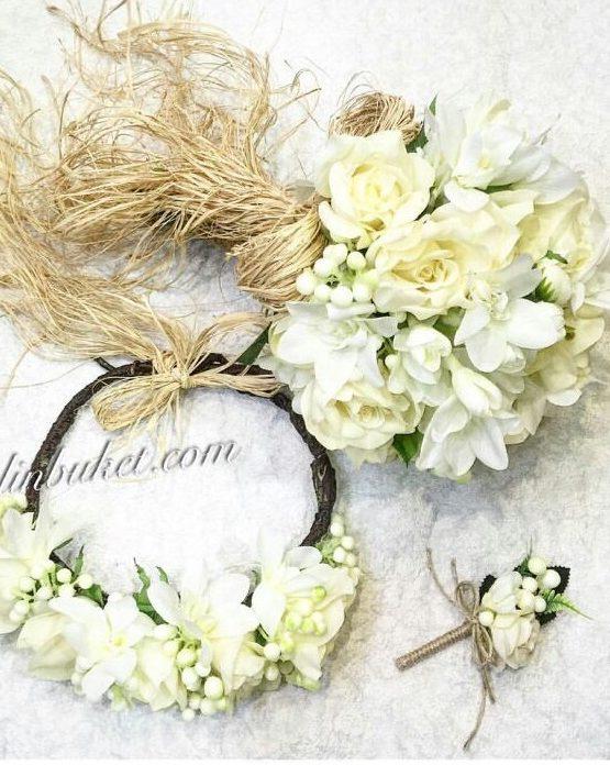 beyaz krem gelin buketi gelin tacı ve damat yaka çiçeği seti