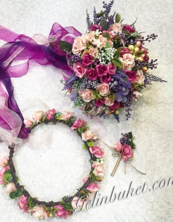 renkli-aranjman gelin çiçeği seti