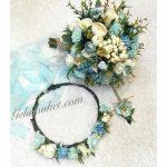 suyeşili - mavi- krem gelin çiçeği gelintaci damat yaka çiçeği seti