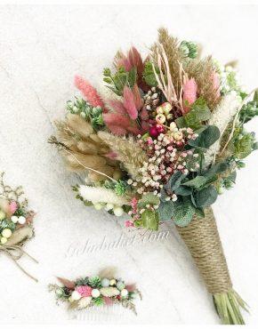 kuru çiçekli gelin buketi damat yaka çiçeği ve gelin tokası seti
