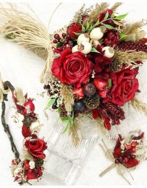 kırmızı gelin çiçeği gelin tacı ve damat yaka çiçeği