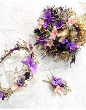 mor orkide gelin çiçeği seti