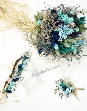 Mit Yeşil Gelin Çiçeği gelin tacı ve damat yaka çiçeği seti